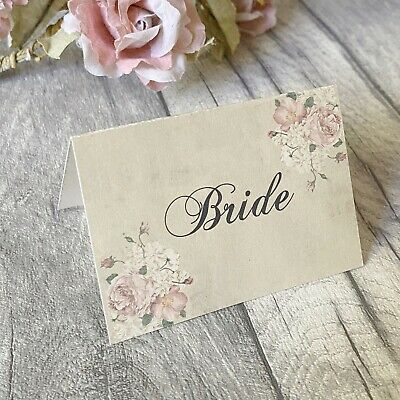 £3.50 • Buy Wedding Table Guest Place Name Cards -  Vintage Flower Style - Set Of 10