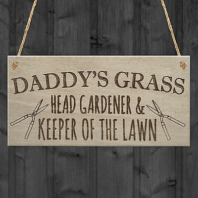 £3.99 • Buy Daddy's Grass Garden Lawn Shed Father's Day Hanging Plaque Dad Gift Sign