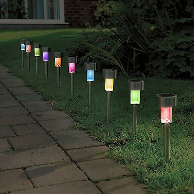 10 X Colour Changing Stainless Steel Solar Powered Garden Lights Lanterns • 12.95£