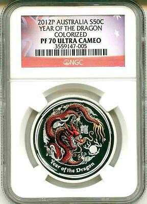 $129.95 • Buy 2012 S50c Australia Lunar Year Of The Dragon Colorized 1/2 NGC PF70 Ultra Cameo