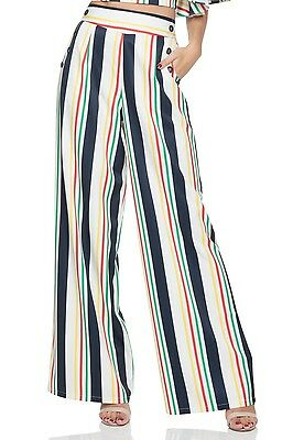 Hailey Striped High Waist Trousers VOODOO VIXEN Rockabilly Vintage TRA4535 Party • 26.99£