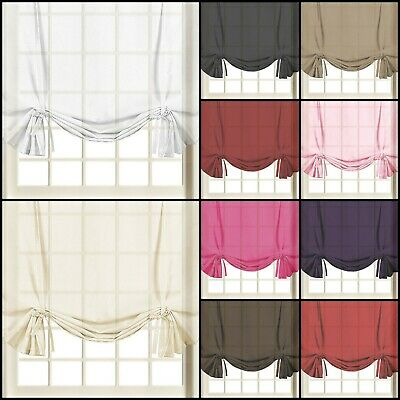 Voile Plain Tied Blind Curtain Panels | 59  Wide X 54  Drop | Free Postage! • 5.49£