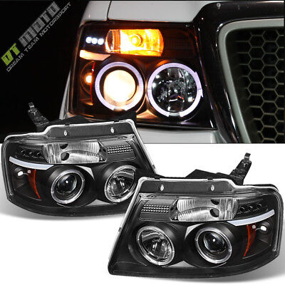 $135.99 • Buy 2004-2008 Ford F150 F-150 Halo LED Projector Black Headlights Headlamp Set 04-08