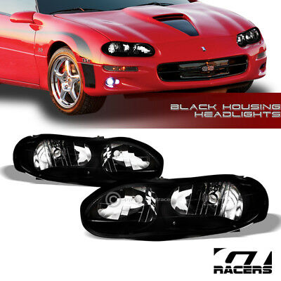 $98 • Buy For 1998-2002 Chevy Camaro Oe Style Black Clear Housing Headlights Lamps Pair Nb