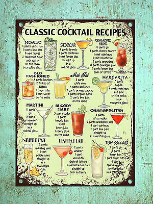 £4.99 • Buy Metal Plaque Vintage Retro Style Classic Cocktail Recipes Tin Wall Den Bar Sign