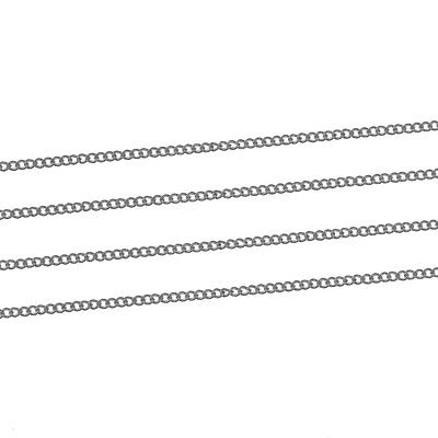 3 Metres Silver Plated Fine Curb Chain Soldered Link Size 1.5mm X 1mm J81234A • 3.29£