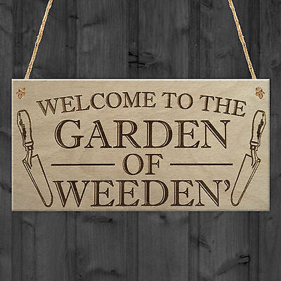 Garden Of Weeden Funny Gardening Shed Allotment Hanging Plaque Outdoor Home Sign • 3.99£