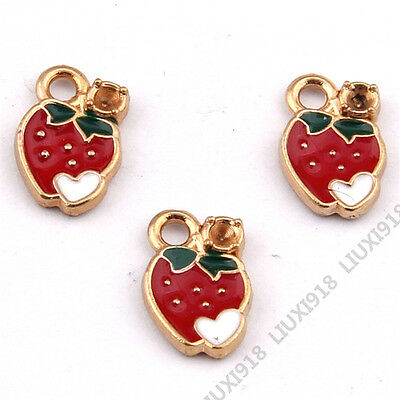 £1.80 • Buy Gold Plated Small Pendants Heart Strawberry Pendant Charms Jewelry Making P932