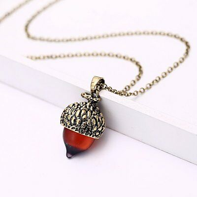 Vintage Charm Nut Tiny Acorn Pendant Necklace Chain Jewelry Lady Girl Gift Party • 1.96$