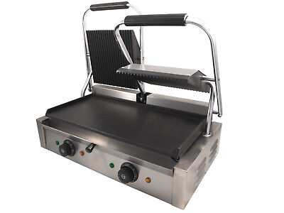 Chef-hub Double Sided Commercial Panini Press Electric Twin Contact Grill • 249.99£