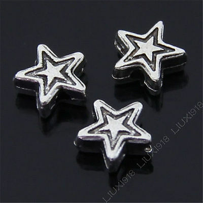 50pc Retro Tibetan Silver Small Stars Spacer Beads Findings Accessories PJ129 • 1.89£