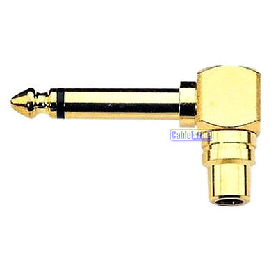 £3.25 • Buy 6.35mm MONO 1/4  Male Jack Plug To RCA Socket RIGHT ANGLE Audio Adapter GOLD