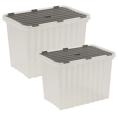 1 x George UTZ Black Attached Lidded Plastic Box 56 Litres Attached Lid Box Plastic Storage Box Container Crate Tote with Crocodile Lid Design