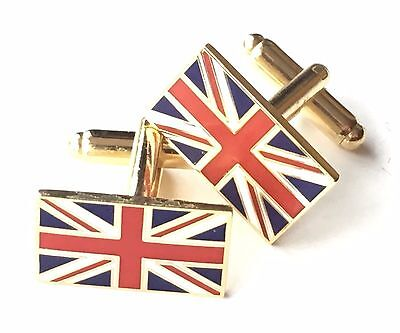 £14.99 • Buy GB Union Jack Gold Plated Enamel Crested Cufflinks (N72) Gift Boxed
