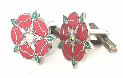Lancashire Red Rose Enamel Crested Cufflinks (N26) Gift Boxed • 14.99£