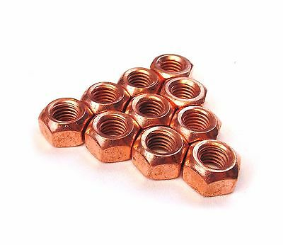 Copper Flashed Exhaust Manifold Nuts M8 X 1.25, M10 X 1.5 Pitch High Temperature • 3.39£