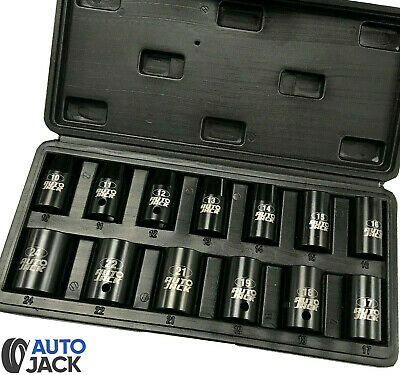 Autojack Impact Wrench Socket Set 13 Pc 1/2 Square Drive Sq Dr Metric 10 - 24mm • 14.95£
