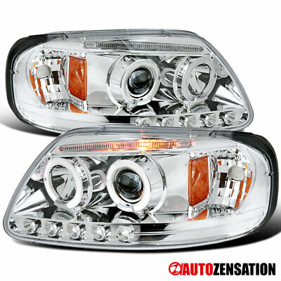 $123.99 • Buy For 1997-2003 Ford F150 Expedition LED Halo Rims Projector Headlights Head Lamps