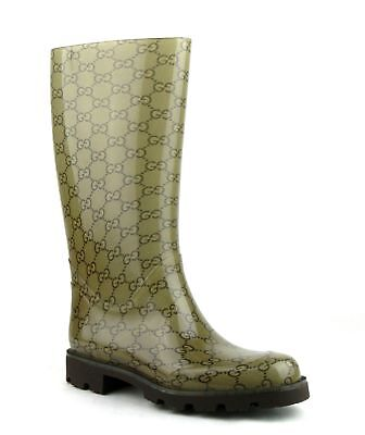 Gucci Women's Light Brown Rubber Rain Boots With Guccissima Pattern 248516 8367 • 207.89£