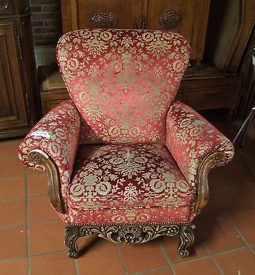 £375 • Buy Louis Xv Style Vintage French Carved Oak & Velour Armchair - (030115)