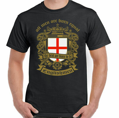 England T-Shirt Men Are Born Equal English Mens Flag Football St. Georges Day • 8.95£