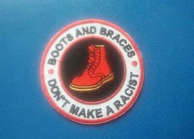 Rude Boy Skinhead Ska Sew / Iron On Patch:- Boots And Braces Don't Make A Racist • 3.49£