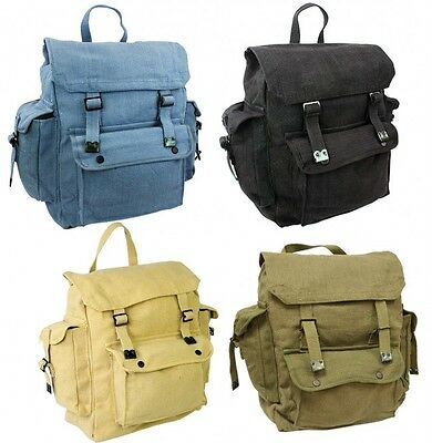 LARGE WEBBING BACKPACK BAG With POCKETS Use As Rucksack Army Military Canvas • 14.99£