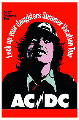 $12 • Buy AC/DC  Lock Up Your Daughters Summer Vacation Concert Tour  Poster 1976 12x18