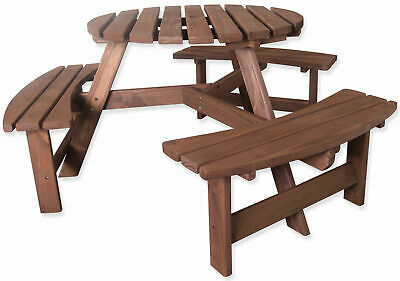 Woodside 6 Seater Round Outdoor Pressure Treated Pub Bench/Garden Picnic Table • 149.99£