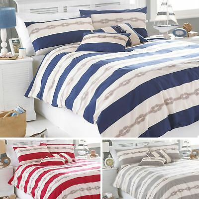Riva Home Reef Natural Striped Stripe Nautical Duvet Quilt Cover Bedding Set • 23.80£