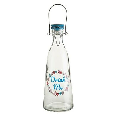 Pretty Things Clear Glass Water Bottle 1000ml With Swing Clip Top Lid Blue • 8.50£