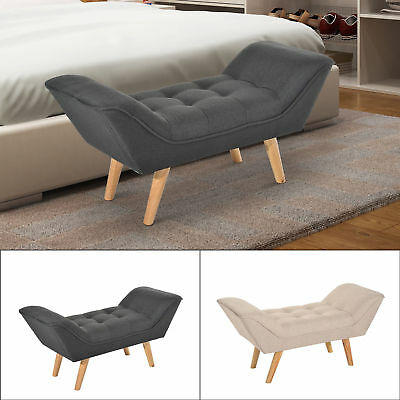 Chaise Longue End Bed Seat Sofa Bench Retro Linen Fabric Mordern • 74.99£