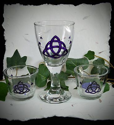 £19.99 • Buy Chalice And Candle Holder Wicca Pagan Altar Triquetra Hand-Fasting Yule Gift