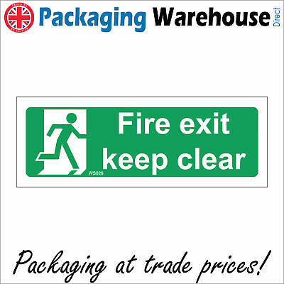 Fs026 Fire Exit Keep Clear Sign Long Landscape Running Man Emergency Escape • 7.95£
