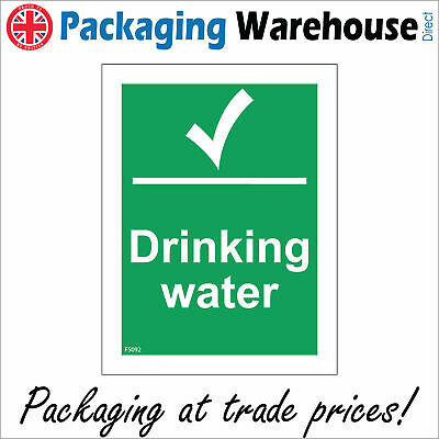 Fs092 Drinking Water Sign Tap Bottle Hydrate Canteen Cafe Restaurant Portrait • 4.59£