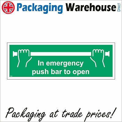£2.95 • Buy Fs089 In Emergency Push Bar To Open Sign Handle Bar Button Automatic Office Door