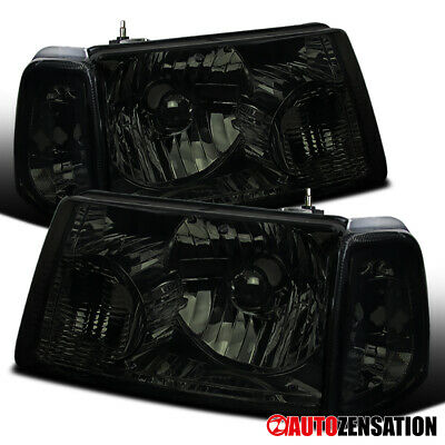 $87.99 • Buy For 2001-2011 Ford Ranger Pair Smoke Lens Headlights W/ Corner Turn Signal Lamps