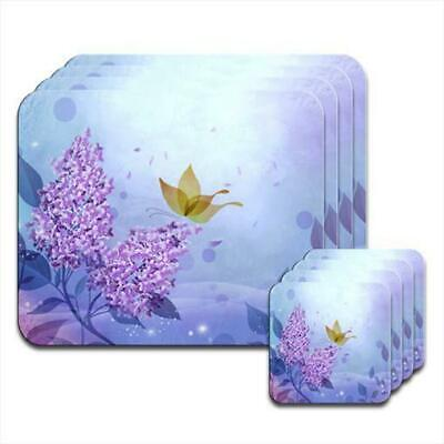 £19.99 • Buy Purple Flower & Butterfly Magical Scene Coaster & Placemat Set