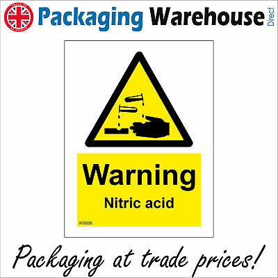Ws036 Warning Nitric Acid Danger To Health Handle With Care Burn Scald Sign • 8.93£