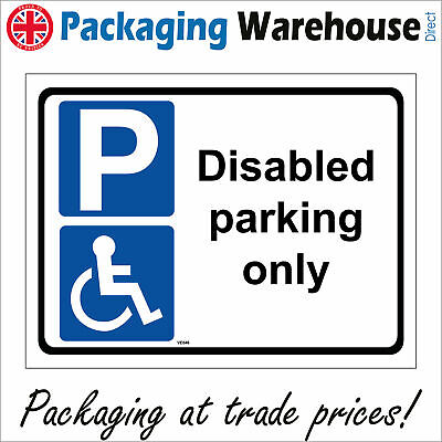 £11.27 • Buy Ve046 Disabled Parking Only Sign Blue Badge Holders Impaired Local Council
