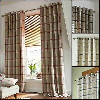 £39.99 • Buy Hudson Lined Ring Top Woven Check Curtains Range (Pair) - Available In 4 Colours
