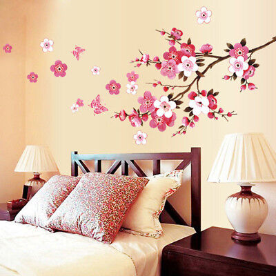 AU5.69 • Buy 3D Room Peach Blossom Flower Butterfly Wall Stickers Vinyl Art Home Decor Mural
