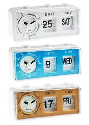 Retro Vintage Style Calendar Flip Alarm Clock - Day & Date Display - In 3 Colour • 5.99£