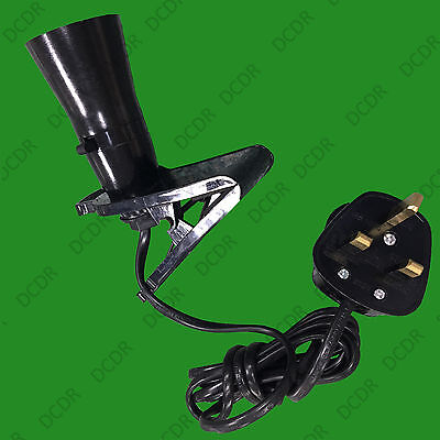Black B22 Socket, Clamp Clip Grip On Light, Fix Or Attach Anywhere UK Plug • 3.95£
