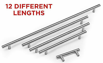 Kitchen Cupboard Cabinet T-Bar Door Handle Brushed Stainless Steel 64-640mm • 1.49£