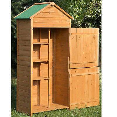 Outdoor Garden Shed Wooden Tool Storage Shelves Utility Cabinet Apex Roof 2 Door • 149.99£
