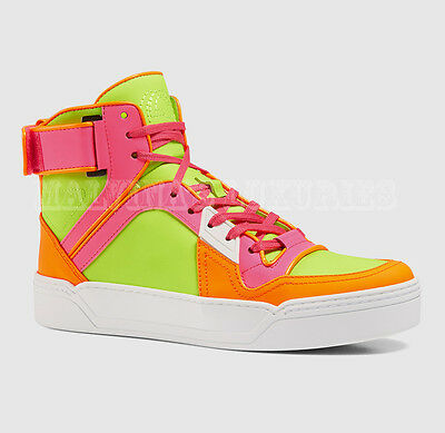 4bdc93dc10bb  795 Gucci Ladies Sneakers Neon Leather Hightop Basketball Style Logo 37g  7.5 • 329.00
