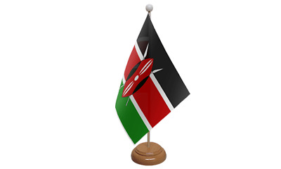 Kenya Small Table Flag (9  X 6 ) With Wooden Stand • 7.99£