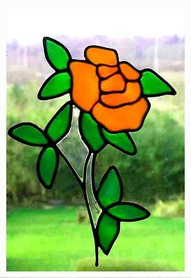 £4 • Buy Slender Rose Stained Glass Effect Window Decor Cling