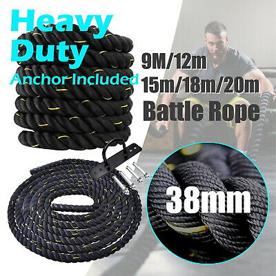 AU84.95 • Buy 9m-12m-15m-18m-20m - Battle Rope 38mm Diameter - Home Gym Strength Bootcamp